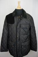 Polo Ralph Lauren Navy Blue Suede Shoulder Pad Quilted Jacket Sz M