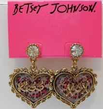 Betsey Johnson Rare & Beautiful Pink Leopard Print Hug & Kiss Heart Earrings