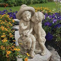 Boy and Girl Garden Statue Kissing Kids Sculpture Child Yard Lawn Art Decor