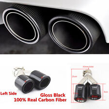 Car SUV Real Carbon Fiber Exhaust Dual Pipes Muffler End Tips Glossy Black