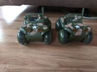 Lot Of 2 Vintage U.S. 818 Army Jeep With Army Man Plastic Battery Toy