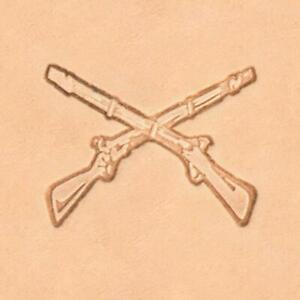 Ivan 3D Leather Stamp - Crossed Rifles (8688-00)
