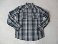 Levis Pearl Snap Button Up Shirt Adult Small Gray Black Long Sleeve Cowboy Mens