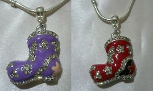 1x Boot Purple OR Red Silver Tone and Enamel Pendant Charm fit European Necklace