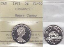 1971 ICCS PL66 (BU,NBU,MS NC) 5 cents HEAVY CAMEO Canada five nickel