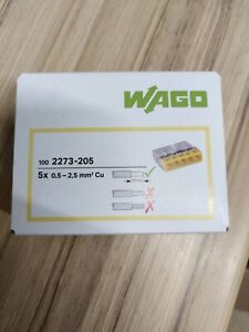 WAGO 2273-205 5 Conductor COMPACT PUSH WIRE® Splicing Connector 24A Yellow