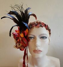 Gatsby 20's Flapper Harvest Feather Bead Bridal Headpiece Party Wedding Costume