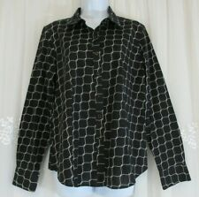 Womens Talbots Black White Haberdashery Wrinkle Resist Button Up 12 Shirt Top