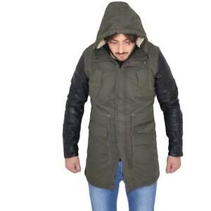 Giubbotto  uomo verde militare casual giacca inverno parka con maniche di ecopel