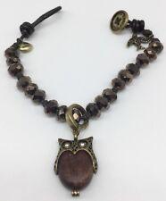 FOSSIL Brown Leather & Crystal Beaded Bracelet Bird & Owl Charm
