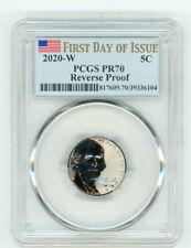 2020 W JEFFERSON NICKEL 5C REVERSE PROOF PCGS PR70 FIRST DAY OF ISSUE 39336104