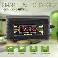 12V 6A Smart Fast Batterie-Ladegerät EU-Stecker für Auto Motorrad LCD Display