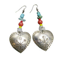 Taxco Mexico Sterling Silver Pierced Earrings Turquoise Heart TS-79 Etched 546f