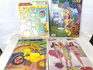 4 Vintage Frame Tray Puzzles Pooh - Sesame Street Big Bird - Barbie - Christmas