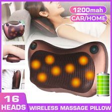 Electric Shiatsu Cervical Massager Pillow Heat Back Neck Cordless 16Head Cushion
