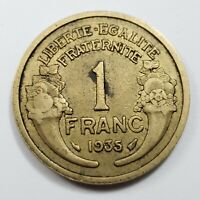 1935 French 1 One Franc - Coin - Low Mintage, Key Date - 1 Fr France