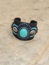 42% OFF Handcrafted Southwest Style Woman's Black Leather Beaded Cuff Bracelet