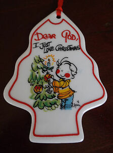 "DEAR GOD KIDS PORCELAIN CHRISTMAS ORNAMENT ""2003"" I JUST LOVE CHRISTMAS"