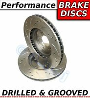 For IMPREZA 2.5 TURBO WRX STI 330S Drilled & Grooved FRONT Brake Discs Rotors