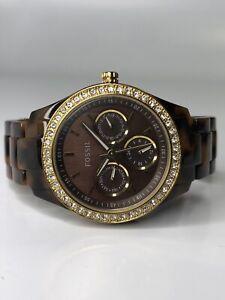 Womens Fossil Stella Tortoise Shell Acrylic Watch Model ES-2795 RUNNING