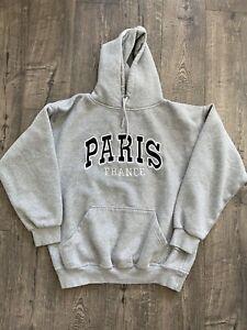 Vintage 1980s/1990s Paris France Tourist Hoodie Sweatshirt Size Medium Eiffel