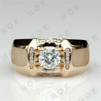 1 Ct Round Cut Diamond 14k Yellow Gold Finish For Mens Wedding Band Pinky Ring