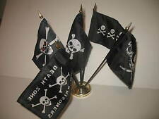 "Pirate Pirates 5 Different Flags 4""x6"" Desk Set Table Stick Gold Base"