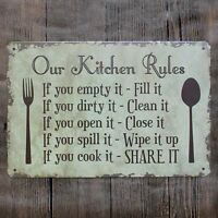 VINTAGE- RETRO - CHIC- METAL WALL SIGN- PLAQUE- KITCHEN RULES -LARGE SIZE-286
