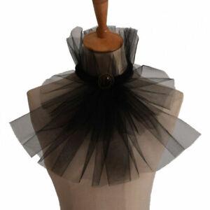 Gothic Victorian Steampunk Lace Up Black Mesh Costume Collar Black Jabot Collar
