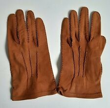 Webbs England Vintage Ladies Sz 9 Ladies Soft Brown Leather Day Gloves Hand Sewn