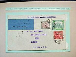1928 AIRMAIL COVER GB UK MALAYA MALAYSIA TO LONDON W3.46 START $0.99