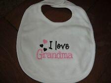 Embroidered Baby Bib - I Love Grandma - Girl