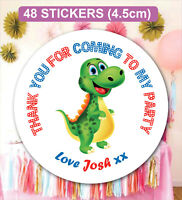 48 Personalised Birthday Stickers Labels Thanks For Coming Dinosaur Bag Seals