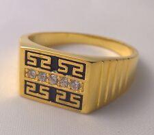 GP Mens 24kt yellow gold simulated diamond Greek Key ring enamel Gentlemen's new