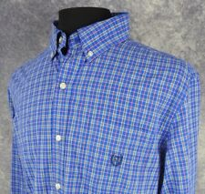 Chaps Mens Shirt Size Large Long Sleeve Easy Care Blue Check Button Down NWOT