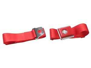1964-1973 Mustang Falcon Push button Seat belt Kit - BRIGHT RED