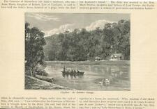 ANTIQUE CLIEFEN ENGLAND ROW BOAT SWANS SUMMER COTTAGE HOUSE SMALL ENGLAND PRINT