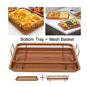 Copper Crisping Tray Copper Crisper Non-Stick Oven Mesh Baking Tray Chips Basket