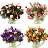 Artificial Rose Bridal Silk Flower Peony Leaf Bouquet Wedding Party Home Decor H
