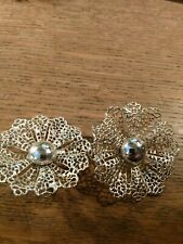 Clip On Earrings Silver Tone Sarah Coventry Filagree Large Flower