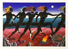 "THOMAS MCKNIGHT ""RUNNING NUBIAN"" 1994 | SIGNED SERIGRAPH | VIVID COLORS  GALLART"