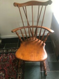 S Bent & BROS CO. Rocking Knitting Chair Bowback Windsor Maple Wood Antique? GL