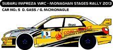 DECALS 1/43 SUBARU IMPREZA WRC - #5 - GASS - RALLYEMONAGHAN STAGES 2013 - D43207
