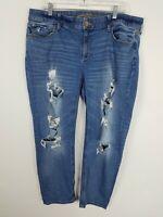 Arizona Juniors Jeans Plus Size 14 Boyfriend Distressed Light Wash Denim
