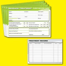 Massage Client Record Card Treatment Consultation Therapists Salons A6 - 50 Pack