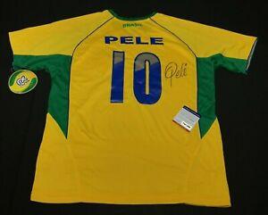 Pele Signed Authentic Rhinox Brazil Soccer Jersey PSA X32359