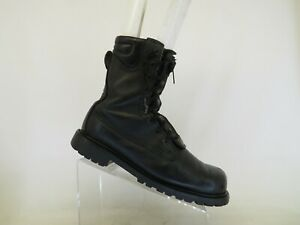 Black Leather Zip Laces Steel Toe Military Tactical Combat Boots Mens Size 9.5 D