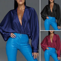 AU Women Casual Plus Size V Neck Formal Silky Top T Shirt Tee Long Sleeve Blouse