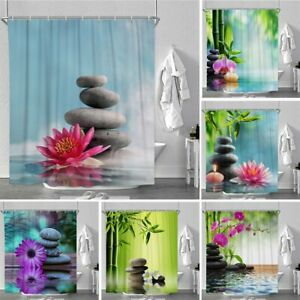 180x220cm Zen Duschvorhang Anti Schimmel Badezimmer Textil Badewannenvorhang