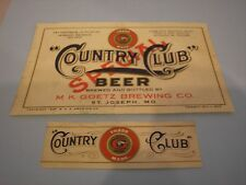 VINTAGE IRTP COUNTRY CLUB BEER LABEL, M.K. GOETZ BREWING CO., ST.JOSEPH, MO